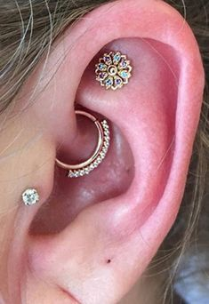 Beautiful Boho Ear Piercing Ideas - Tribal Daith Rook Hoop Ring - Tragus Cartilage Earring Stud
