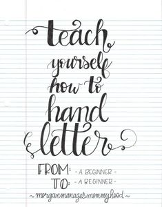 """TRY:""""Here's another simple approach to teaching yourself to hand letter. Once again it requires only paper and a pen, no need for special equipment or to download special sheets.  Follow Morgan's step by step instructions and start lettering a word or phrase to use on a scrapbook layout. remember, practice makes progress!"""" #HobbiesToTry"""