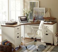 Whitney Corner Desk Set, 1 Desktop & 2 File Cabinet, Almond White with Honey stain - Home Office Furniture - Pottery Barn Mesa Home Office, Home Office Desks, Home Office Furniture, Office Decor, Office Ideas, Tiny Home Office, Office Tv, Office Lounge, Office Suite