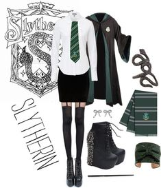 Admit it, you'd be in Slytherin too. I love the idea and all, but I'll have to pass on the shoes there Harry Potter Mode, Harry Potter Style, Harry Potter Outfits, Slytherin Clothes, Hogwarts Uniform, Harry Potter Kleidung, Slytherin Pride, Slytherin Traits, Slytherin Snake