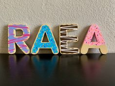 Your place to buy and sell all things handmade Painted Wood Letters, Wooden Letters, 3d Letters, Baby Girl 1st Birthday, Sister Birthday, Paper Mache Letters, Donut Party, Birthday Party Themes, Birthday Ideas