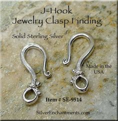 To make Portuguese knitting pin - Sterling Silver Dotted J-Hook Jewelry Clasp, 20mm - Made in the USA - Silver Enchantments