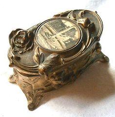 VTG Art Nouveau Metal Trinket Box, Celluloid Photo McKinley Monument Buffalo NY. $49.99 obo FREE SHIP!