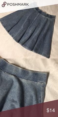 Topshop Denim Skater Skirt Perfect condition - tag inside is just slightly falling off. Super cute for summer and a comfortable elastic waist! Topshop Skirts