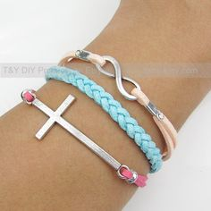 Cross Bracelet Infinity Bracelet Charm Bracelet Leather by TYdiy, $6.88. I so want for X-Mas!!!