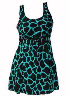 Plus Size Black and Cyan Giraffe Print Tank Babydoll Swimdress