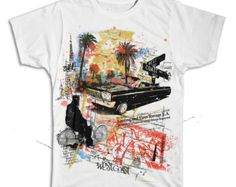 West Cost Los Angeles collage t-shirt printed on comfortable ringspun cotton t-shirt.  LA tribute design is perfect for skate and streetwear.  Gives you that Live and Die in LA Cali vibe.