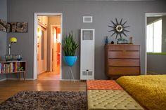Grey walls, blue planter