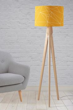 Yellow lampshade Yellow light shade Mustard yellow Mustard home decor Geometric lampshade Yellow geometric Yellow lamp Floor lamp Yellow Floor Lamps, Yellow Ceiling, Small Bedside Lamps, Large Lamps, Yellow Light Shades, Corner Lamp, Tall Table Lamps, Yellow Home Decor, Mustard Yellow Decor
