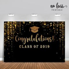 Black and Gold Backdrop Graduation party Poster Signage | Etsy