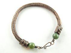 viking knit Armband, Kupfer, Moosachat von KlimmBimm auf DaWanda.com