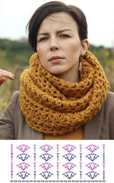 Crochet Winter, Crochet Cozy, Crochet Scarves, Crochet Clothes, Crochet Shawl Diagram, Crochet Chart, Crochet Stitches, Crochet Border Patterns, Crochet Designs
