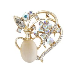 Fashion Simple Rhinestone Opal Gold Vase Flower Brooches Pins For Women