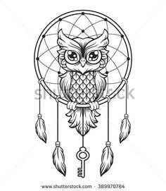 Dream-catcher black and white owl. Vector line illustration