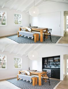 Midcentury single family house located in Del Mar, California, designed by Nick Noyes Architecture. Sheltered Housing, Built In Bar, Eclectic Decor, Architecture Design, Home And Family, Interior Design, Single Family, Dining Rooms, Furniture