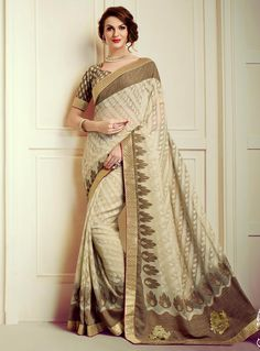 Buy online women fashion sarees online in various styles, designs, colors and fabrics. Order this banarasi silk and brasso beige classic designer saree for festival and party. Saree Wedding, Wedding Wear, Bridal Sarees Online, Diwali Dresses, Indian Party Wear, Saree Shopping, Designer Sarees Online, Georgette Sarees, Party Wear Sarees