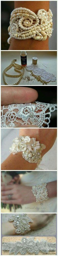 Bracelet dentelle, rebrodé, embroidery