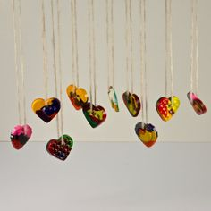 Heart Shaped Crayola Necklace Melted Crayons by ZuzkasDesigns