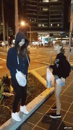 Sana & Momo working the pavement