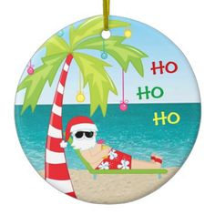Tropical Beach Santa Palm Tree Christmas Ornament