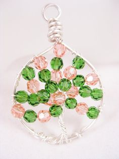 Rose Peach Crystal Tree of Life Pendant by SparklngCreations, $45.00