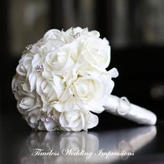Replace or Add Hydrangeas Wedding Bouquet White Real Touch Roses Bridal by TimelessWedding
