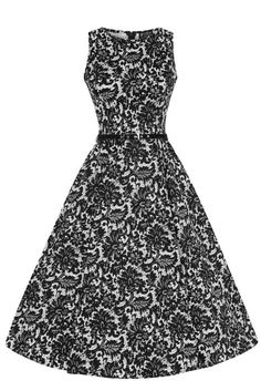 34cacabb9ee3 Černobílé šaty s imitací krajky Lady V London Audrey Klasické Šaty