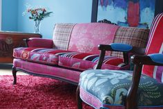 Custom Made Upholstered Chair Vintage Chair And Settee In Tricia Guild Cut Velvet And Prints