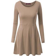 Doublju Womens Casual Simple Designed Long Sleeve Flare Short Dress (290 ZAR) ❤ liked on Polyvore featuring dresses, short dresses, brown dress, longsleeve dress, long-sleeve mini dress and long sleeve short dress
