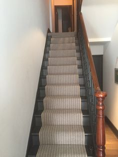 Striped Carpet To Stairs In South London | Stair Runners | Pinterest |  Striped Carpets And Stair Carpet