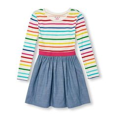 Girls Long Sleeve Rainbow Stripe Chambray Flare Dress - White - The Children's Place