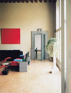 Found on the great Aqqindex, which almost fetishizes design from the 70's and 80's: a vew of Ettore Sottsass and Aldo Cibic's design of the Munari Apartmen