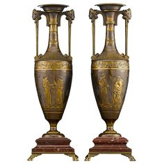 ❤ - Barbedienne Classical Revival Urns  France  Circa 1854