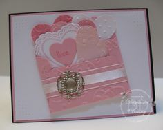 Hearts, Hearts, Hearts LOVE this card. Shape and colors/embossing folder and brad
