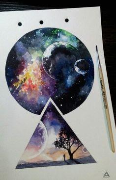 15 new ideas tattoo watercolor galaxy art Art Inspo, Inspiration Art, Art Galaxie, Art Et Illustration, Galaxy Art, Oeuvre D'art, Cool Drawings, Galaxy Drawings, Space Drawings