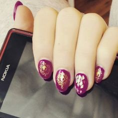 Nail gel - gold and purple