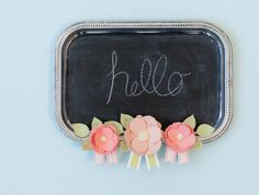 Embellish a Chalkboard with paper peonies made with Cricut 3D Floral Home Decor