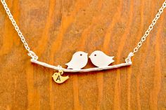 Mom Necklace - mom of twins, love birds necklace, personalized necklace, initialized necklace. $32.00, via Etsy.