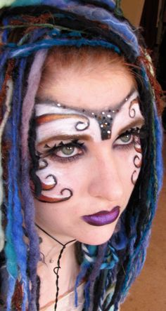 """Dark Fairy"" inspired swirly make-up mask with crystal accents. Mask Makeup, Costume Makeup, Halloween News, Halloween Makeup, Halloween Costumes, Tribal Face Paints, Fairy Photography, Tribal Makeup, Theatrical Makeup"