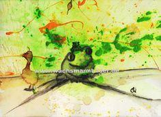 Ente und Frosch mit Babyfrosch auf dem Kopf - gemalt auf Malpappe