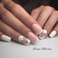 February nails Festive nails French manicure with heart Heart nail designs Ideas of gentle nails Manicure on the day of lovers Nails trends 2018 Romantic nails Heart Nail Designs, Best Nail Art Designs, Acrylic Nail Designs, Acrylic Nails, French Nails, Nail Deco, Nagel Hacks, Nagellack Trends, Heart Nails