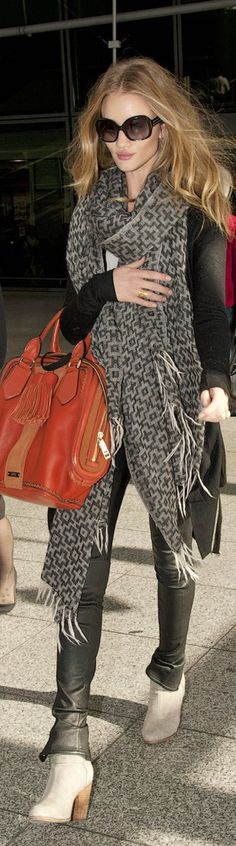 Rosie Huntington-Whiteley in leather leggings, an oversized animal-print scarf + Givenchy bag. #streetstyle ~