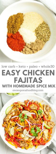 Easy to make low carb, keto, paleo and whole 30, these homemade chicken fajitas are absolutely gorgeous and take no time to make using spices that you already have in your cupboard. #easyfajitas #quickfajitas #besteverfajitas #chickenfajitas #fajitaseasoning #texmexseasoning #healthyfajitas #guacamole #easyguacamole #paleomain #ketomain #whole30main #lowcarbmain #onceuponafoodblog