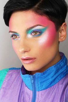 Glam Rock Makeup Idea ★ Simple and creative makeup ideas for gorgeous looks. Bring your blue eyeshadow and pink lipstick game to a new level. makeup augen hochzeit ideas tips makeup 80s Makeup Trends, 1980s Makeup, Makeup Ideas, Retro Makeup, 80s Eye Makeup, Glam Rock Makeup, 80s Makeup Looks, 80s Glam Rock, Disco Makeup
