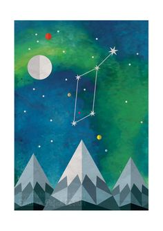Lyra is a print reproduced from my original digital illustration featuring the Lyra constellation and the northern lights.  This is an unframed, high