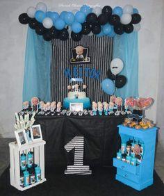 Boys 1st Birthday Cake, Boss Birthday, Birthday Parties, Christening Invitations Boy, Baby Boy Baptism, Birthday Backdrop, Boss Baby, Baby Party, Baby Shower