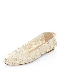 Teens Cream Crochet Slip On Shoes  | New Look