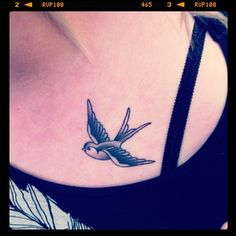 swallow tattoo. even though this bird apparently hates me, I still think its cute