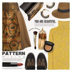 """""""Head-To-Toe Pattern Mixing"""" by anna-anica ❤ liked on Polyvore featuring Etro, Thierry Mugler, Maison Michel, Chloé, Gucci, tarte and NARS Cosmetics"""