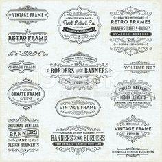Vintage Frames, Banners y distintivos vector de stock libre de derechos
